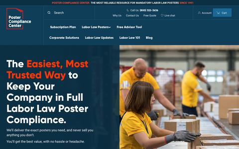 Screenshot of Home Page postercompliance.com - Required Labor Law Posters for 2019 | Poster Compliance Center - captured July 4, 2019