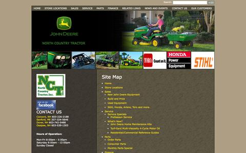 Screenshot of Site Map Page northcountrytractor.com - North Country Tractor, Inc. - Sitemap - North Country Tractor Inc. - 1-603-226-2188 - Concord   Sanford   Dover   Ossipee - captured Nov. 3, 2014