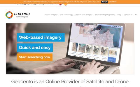 Screenshot of Home Page geocento.com - Geocento - Online Provider of Satellite and Drone Imagery - captured Dec. 8, 2015