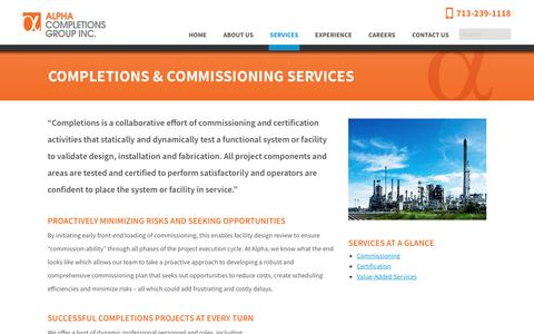 Screenshot of Services Page alpha-cg.com - Alpha Completions Group Provides Fit-For-Purpose Commissioning Services - captured Oct. 3, 2018