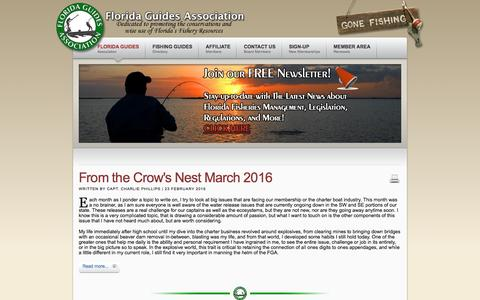 Screenshot of Press Page florida-guides.com - Florida Guides Association News - captured March 25, 2016