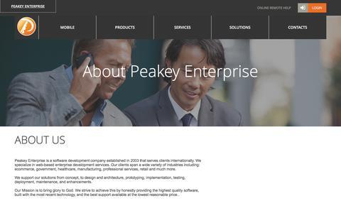 Screenshot of About Page peakey.com - About Peakey Enterprise - captured Jan. 26, 2016