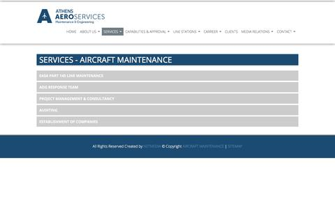 Screenshot of Services Page aircraftmaintenance.gr - AIRCRAFT MAINTENANCE SERVICES - captured July 6, 2018
