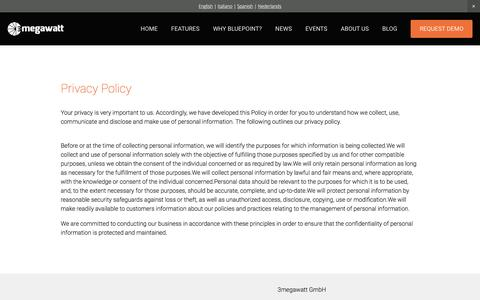 Screenshot of Privacy Page 3megawatt.com - Privacy Policy Ń 3megawatt | Solar Asset Management Software - captured Jan. 12, 2016