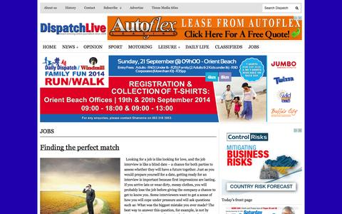 Screenshot of Jobs Page dispatchlive.co.za - JOBS | DispatchLIVE - captured Sept. 22, 2014