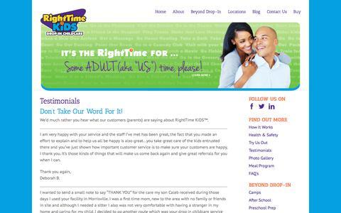 Screenshot of Testimonials Page righttimekids.com - Testimonials – RightTime Kids - captured Nov. 16, 2017