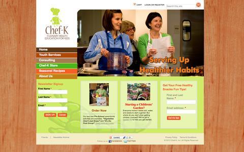 Screenshot of Home Page chef-k.com - chef-k.com | Culinary Health Education for Kids - captured Oct. 2, 2014