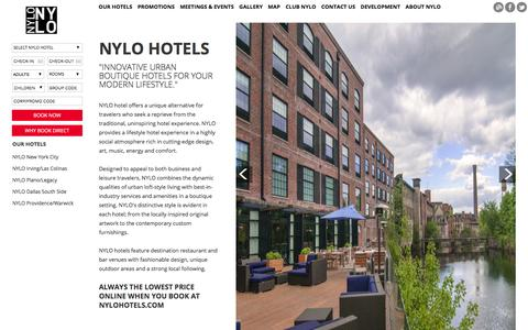 Screenshot of Home Page nylohotels.com - NYLO Hotels - Luxury Loft Boutique Hotels - captured Feb. 15, 2016