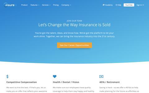 Screenshot of Jobs Page insureio.com - Help Us Build the Best Insurance CRM Software | Insureio.com - captured Dec. 5, 2018