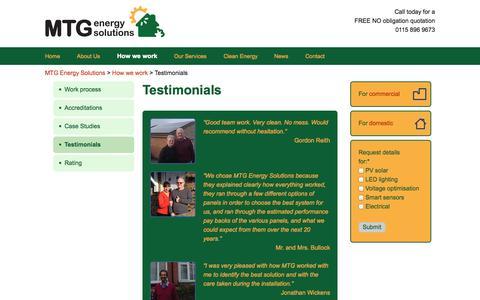 Screenshot of Testimonials Page mtgenergysolutions.co.uk - Customers testimonials | MTG Energy Solutions - captured Oct. 3, 2014