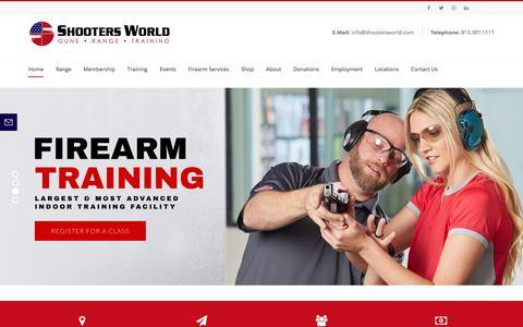 Screenshot of Home Page shootersworld.com - Shooters World – Shooters World - Tampa's Very Own Five Star Range - captured Sept. 20, 2018