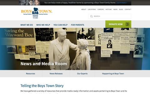 Screenshot of Press Page boystown.org - Boys Town: Saving Children, Healing Families, Parenting Tips |  	News and Media Room - captured Aug. 3, 2018