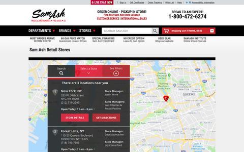 Screenshot of Locations Page samash.com - Sam Ash Retail Stores | Sam Ash Direct - captured Aug. 21, 2019