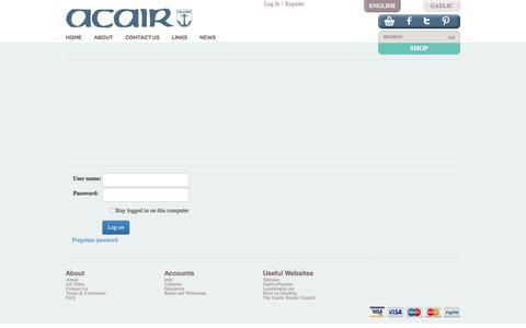 Screenshot of Login Page acairbooks.com - Acair Ltd - Gaelic, English and Bilingual books - Login - captured Nov. 20, 2016