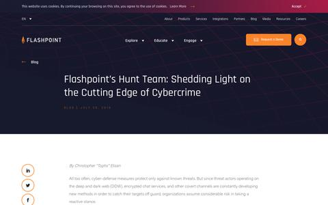 Screenshot of Team Page flashpoint-intel.com - Flashpoint - Flashpoint's Hunt Team: Shedding Light on the Cutting Edge of Cybercrime - captured Nov. 12, 2019