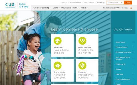 Screenshot of Home Page cua.com.au - Life Rich Banking - CUA - captured Oct. 12, 2016