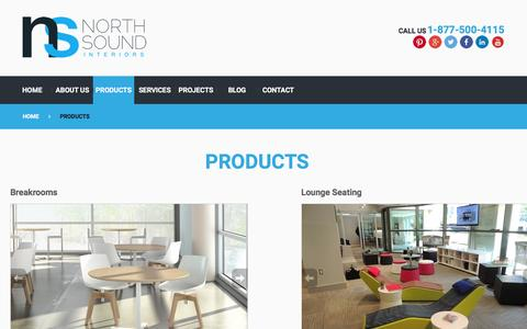 Screenshot of Products Page nsiint.com - Products Offered by North Sound Interiors - captured Feb. 15, 2016