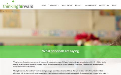 Screenshot of Testimonials Page thinkingforward.ca - Testimonials - Thinking Forward - captured Nov. 2, 2014