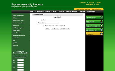 Screenshot of Login Page expressassembly.com - Shopping Cart - Express Assembly Products - captured Nov. 14, 2016