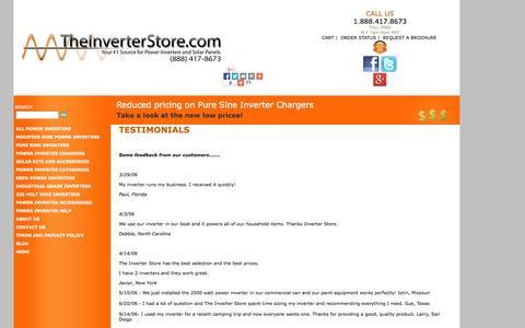 Screenshot of Testimonials Page theinverterstore.com - Testimonials - captured Sept. 23, 2014