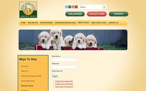 Screenshot of Login Page newhorizonsservicedogs.org - Login - captured Oct. 7, 2014