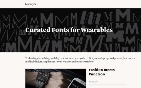 Screenshot of Landing Page monotype.com - Fonts for Wearables - captured July 15, 2016