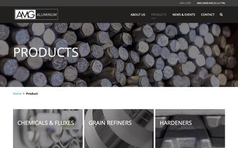 Screenshot of Products Page amg-al.com - Products – AMG Aluminum - captured Nov. 12, 2018