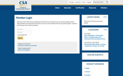Screenshot of Login Page csa.us - Society of Certified Senior Advisors - captured Sept. 27, 2018