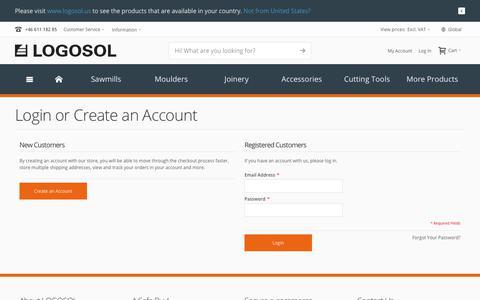 Screenshot of Login Page logosol.com - Customer Login | LOGOSOL - captured July 22, 2018