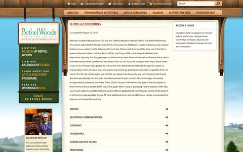 Screenshot of Terms Page bethelwoodscenter.org - Terms & Conditions   Bethel Woods Center for the Arts - captured Sept. 27, 2018