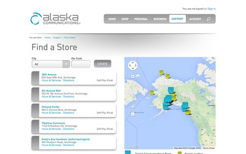 Screenshot of Locations Page alaskacommunications.com - Welcome to Alaska Communications : Online Care : Find a Store : - captured Sept. 19, 2014