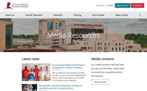 Screenshot of Press Page stjude.org - Media Resources - St. Jude Children's Research Hospital - captured Aug. 11, 2016