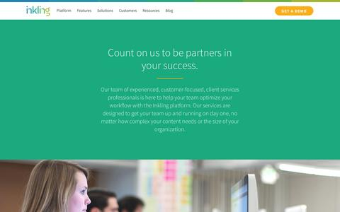Screenshot of Services Page inkling.com - Inkling's client services team is your partner in success | Inkling - captured July 15, 2015