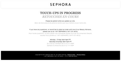 Screenshot of Contact Page sephora.com captured March 11, 2018