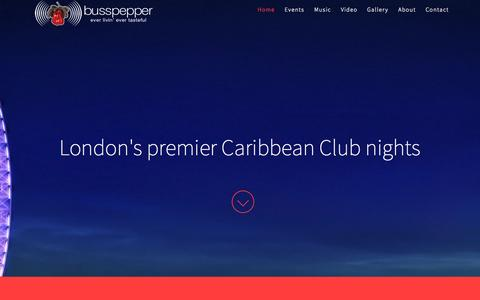 Screenshot of Home Page busspepper.com - Caribbean Parties | Busspepper | Caribbean Food and Events in London - captured Sept. 13, 2015