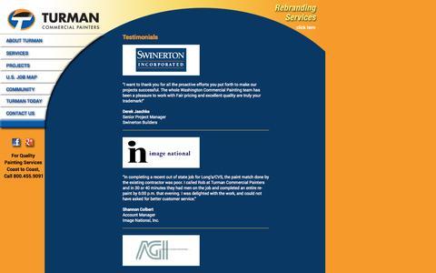 Screenshot of Testimonials Page turmaninc.com - Testimonials | Turman - captured Oct. 7, 2014