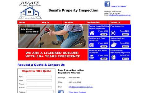 Screenshot of Contact Page besafeinspections.com.au - Besafe Property Inspection - captured Oct. 5, 2014