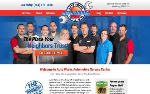Screenshot of Home Page autoworksmn.com - Auto Works | Woodbury, MN | Auto Repair - captured Oct. 4, 2014