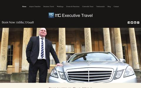 Screenshot of Home Page mgexecutivetravel.co.uk - Professional Chauffeur Gloucester, Cheltenham, Tewkesbury - captured Aug. 2, 2015