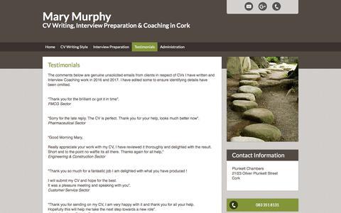 Screenshot of Testimonials Page marymmurphy.com - Testimonials - captured Sept. 20, 2018