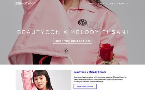 Screenshot of Home Page beautycon.com - Beautycon Festival | Beautycon Shop | Beautycon Digital - captured Aug. 1, 2018
