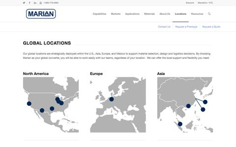 Screenshot of Locations Page marianinc.com - Global Locations - Marian Inc. - captured Sept. 21, 2019