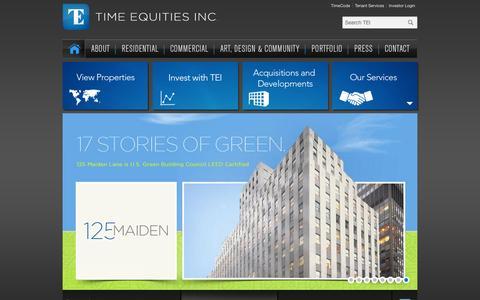 Screenshot of Home Page timeequities.com - Time Equities Inc. - captured Feb. 7, 2016