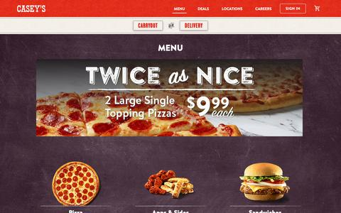 Screenshot of Menu Page caseys.com - Casey's Pizza Menu, Breadsticks, Wings, Subs & More | Casey's General Store - captured May 1, 2019