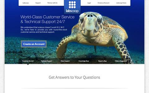 Screenshot of Support Page labscoop.com - Labscoop.com | Customer Service - captured July 10, 2016