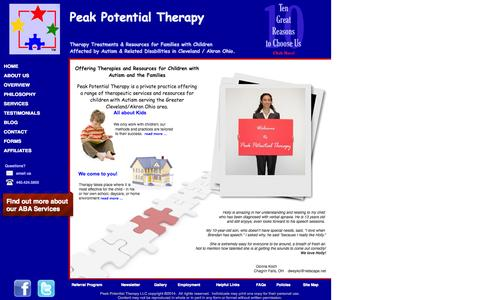 Screenshot of Home Page peakpotentialtherapy.com - Therapy Options for Special Needs Kids - captured Oct. 2, 2014
