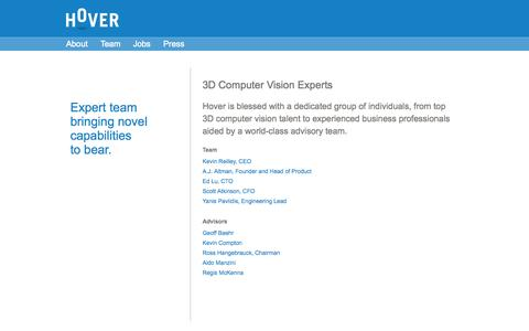 Screenshot of Team Page hoverinc.com - Hover—Expert 3D Computer Vision Team - captured Sept. 12, 2014