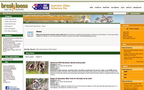 Screenshot of Press Page breakloose.com.au - Adventure News from Australia - captured Oct. 5, 2014