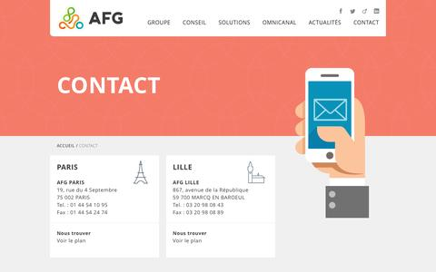 Screenshot of Contact Page groupeafg.com - Contact - AFG - captured July 18, 2016