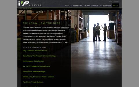 Screenshot of Team Page ivpplastics.com - People | IVP - captured Sept. 30, 2014